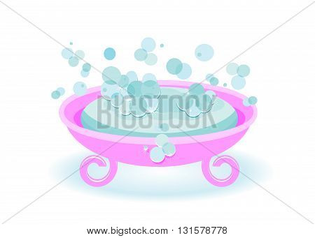 soap. Blue soap and soap bubbles in a pink soap tray
