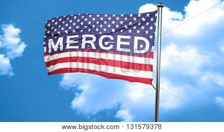 merced, 3D rendering, city flag with stars and stripes