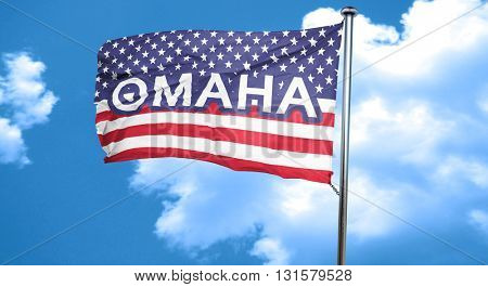omaha, 3D rendering, city flag with stars and stripes