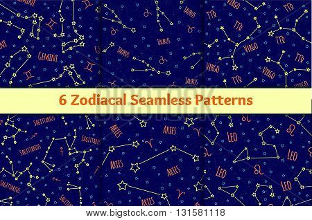 Set of seamless patterns with the image of the zodiac signs and constellations. Vector collection of blue backgrounds zodiac Gemini, Taurus, Virgo, Sagittarius, Aries, Leo starry sky