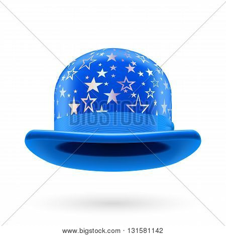 Blue round bowler hat with silver glistening stars.