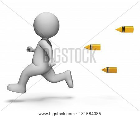 Bullets Running Means Difficult Situation And Aiming 3D Rendering