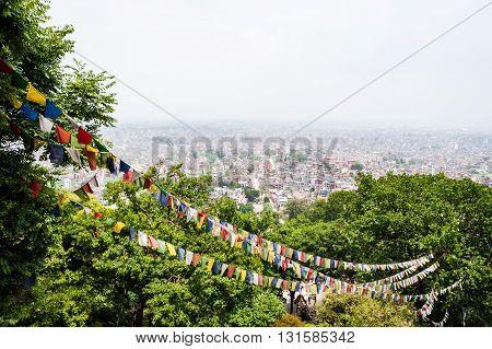 Kathmandu aerial view from Swayambhunath hill, Nepal 2014