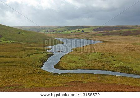 The River Elan Flowing In To Craig Goch Reservoir, Elan Valley Wales.