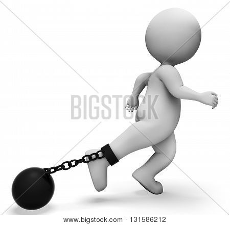 Ball And Chain Represents Held Back And Bound 3D Rendering