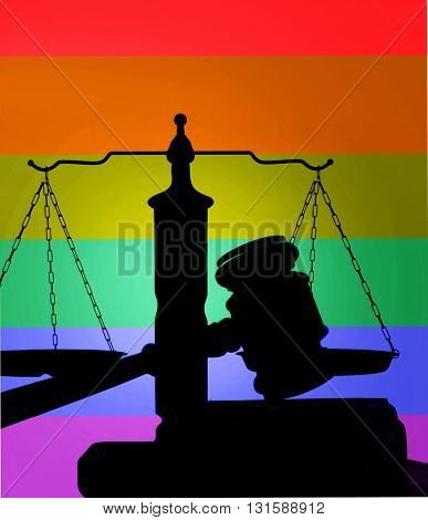 Court gavel and scales of justice with LGBT rainbow flag colors