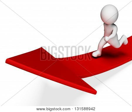 Character Aims Indicates Arrow Sign And Advance 3D Rendering