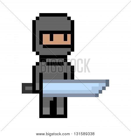 Vector pixel art black ninja. Pixel unit for 8 bit video games.