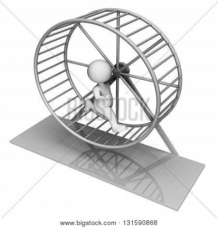 Hamster Wheel Indicates Worn Out And Active 3D Rendering