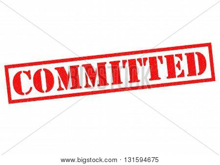 COMMITTED red Rubber Stamp over a white background.