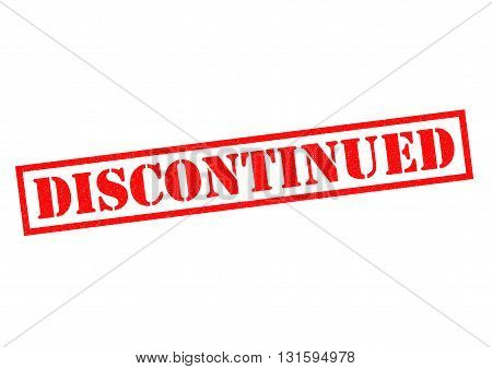DISCONTINUED red Rubber Stamp over a white background.