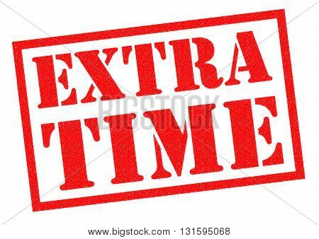 EXTRA TIME red Rubber Stamp over a white background.