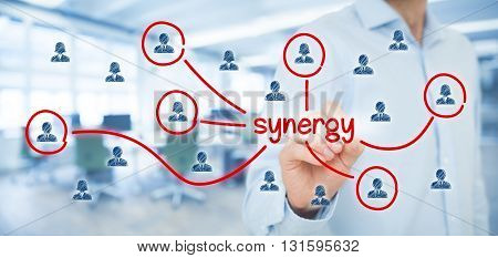 Synergy opportunity concept. Manager (businessman) connect team members with text synergy cooperating team connected to this text.