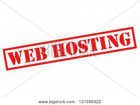 WEB HOSTING red Rubber Stamp over a white background.