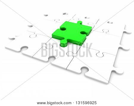 Puzzle pieces in green and white colors . 3D illustration .