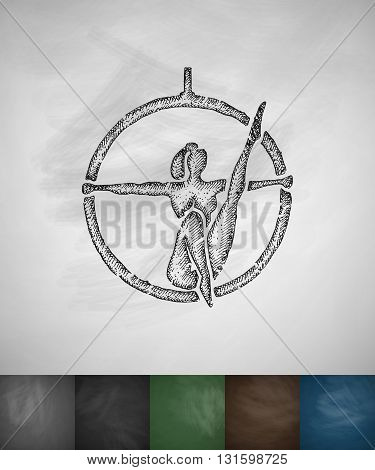 trapeze artist icon. Hand drawn vector illustration. Chalkboard Design