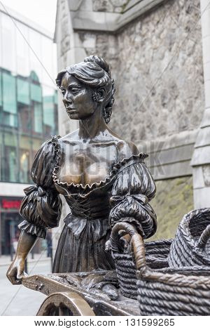 DUBLIN IRELAND - MAY 7 2016: Molly Malone statue in the center of the city. The statue has been created to celebrate the city's first millennium in 1988 and its name is a popular song.