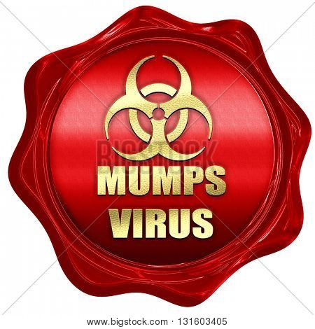 Mumps virus concept background, 3D rendering, a red wax seal
