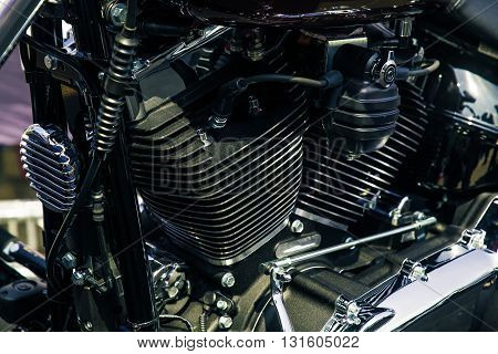 Retro shiny chrome motorcycle moto engine image
