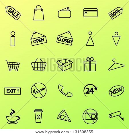 Set of shopping icons. Line icons. 20 shopping line icons. Vector line icons.