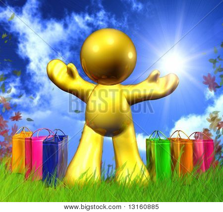 Happy shopping icon with colorful bags