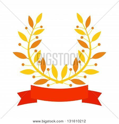 Laurel wreath branch award and branch award design element. Vector gold branch award and laurel wreath branch award. Winner ornate leaf branch award certified sport champion. Success victory circle.
