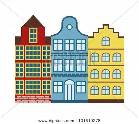 Lovely detailed european houses vector and old town village european houses main street illustration. European houses with retro victorian style building facades. European houses town.