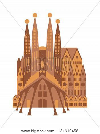 Spanish cathedral in historic town square, Spanish cathedral construction and architecture Spanish cathedral. Architecture Spanish cathedral vector church stone catholicism city ancient facade.