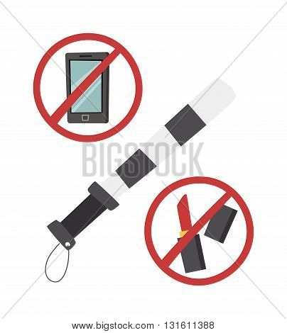 Safety belt police baton vector illustration. Road safety no makeup, road safety do not call sign. Road safety danger safety concept. Road safety warning speed protection auto caution.