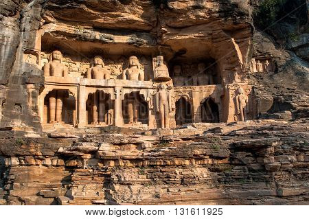 Ancient statues of Jain Tirthankaras in Gopachal Parvat, Gwalior, India.