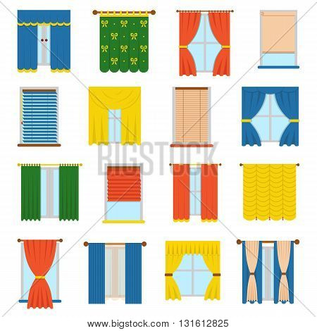 Vector collection various window treatments curtains, drapes, shades, blinds. Flat style blinds flat jalousie vector. Glass decoration blinds vector and interior classic style blinds vector.