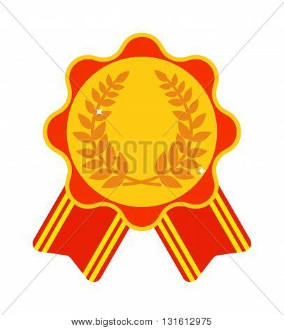 Award ribbon medal first place vector and medal first place award winner ribbon achievement. Medal first place success symbol and medal first place champion sport. Medal first place emblem trophy.