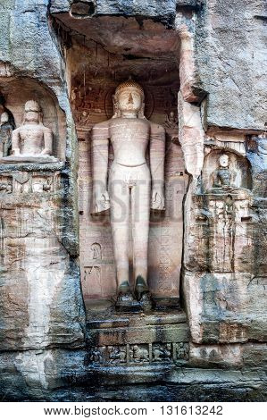 Ancient statues of Jain Tirthankaras in Gopachal Parvat Gwalior India.