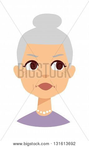 Very attractive senior lady isolated on white. Granny face vector and granny face cute cartoon lady. Granny face old senior female person and elderly beautiful age granny face.