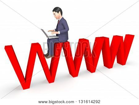 Businessman Character Means World Wide Web And Net 3D Rendering