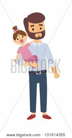 Father and young daughter happy together, father and daughter baby girl. Father and happy little daughter. Father and daughter cheerful happiness fun beautiful family. Outdoor leisure smile family.
