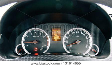 Modern car illuminated dashboard closeup. Car, Dashboard, Panel, Control,