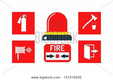 Fire alarm and alarm icons vector set. Caution protection silhouette alarm icons and ring design signal fire alarm icons. Danger reminder graphic clock alarm icons and security siren alarm icons.