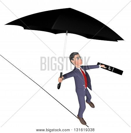 Balancing Character Shows Business Person And Balanced 3D Rendering