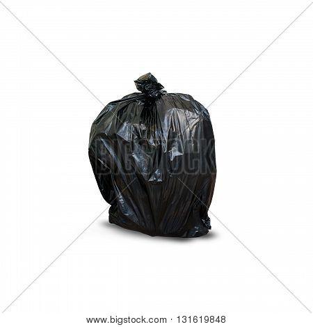plastic black trash bag isolated on white