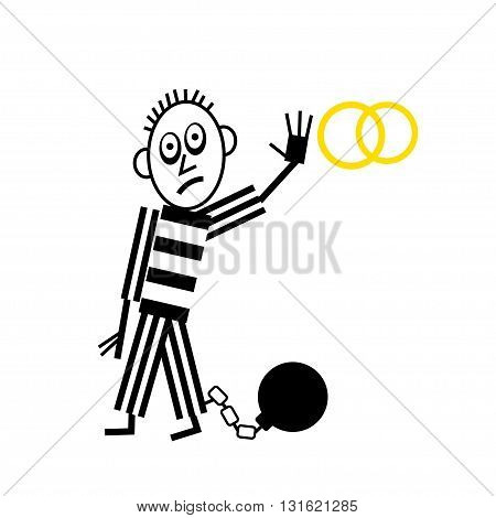 Wedding Couple pictogram man with shackle and iron ball