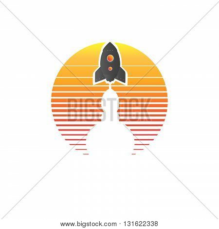Orange gradient light with start up rocket ship