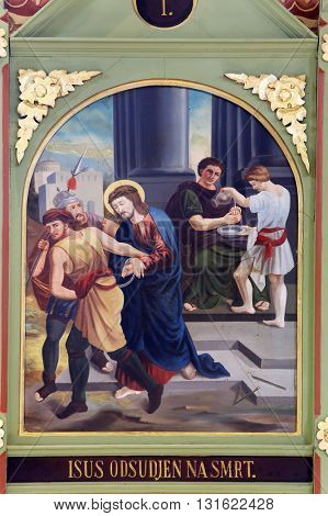 STITAR, CROATIA - AUGUST 27: 1st Stations of the Cross, Jesus is condemned to death, church of Saint Matthew in Stitar, Croatia on August 27, 2015