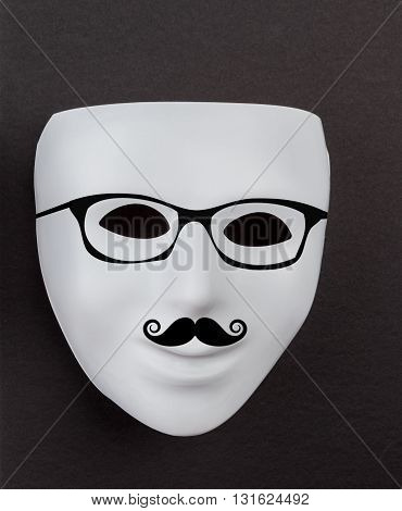 White Mask On Black With Mustache And Hipster Glasses