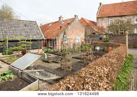 NETHERLANDS - BRONCKHORST - CIRCA APRIL 2016: Allotment in the smallest city in the Netherlands.