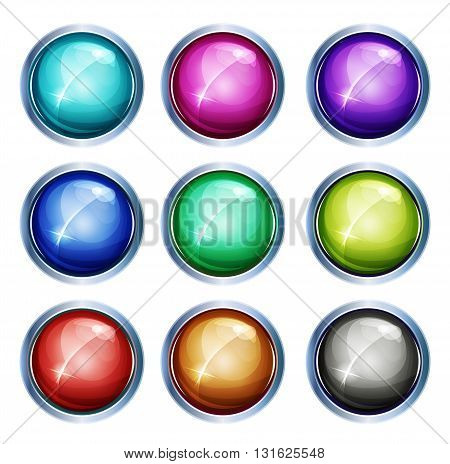 Illustration of a set of glossy and bright light buttons and icons with silver metal rings for apps and game ui