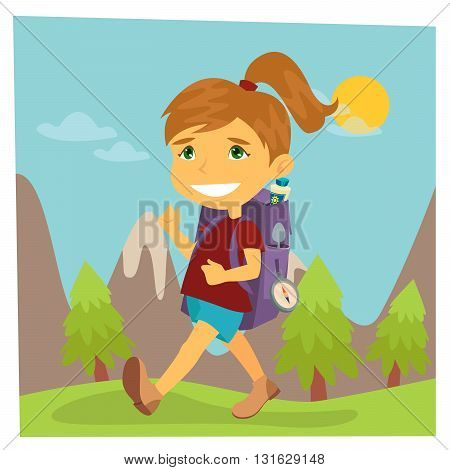 Girl Scout with Backpack on Hiking. Vector illustration