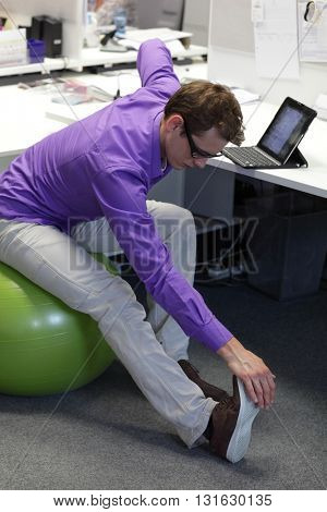 office occupational disease prevention - exercising business man