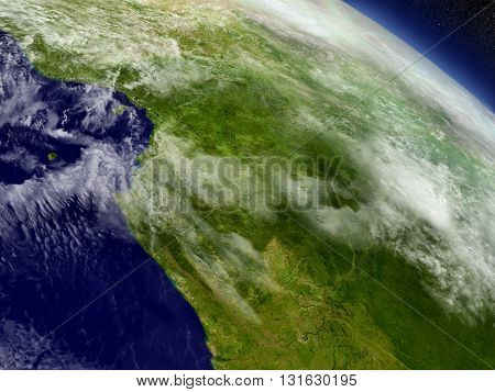 Cameroon, Gabon And Congo From Space