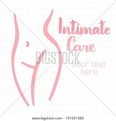 Woman intimate silhouette. Isolated hand-drawn illustration with brush lettering text - Intimate care. Good for web and print projects.